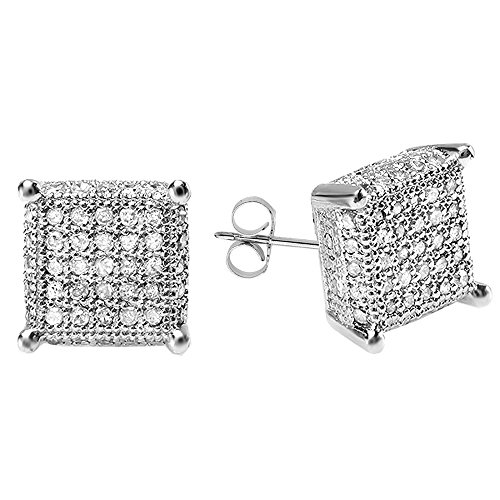 0.55 Carat (ctw) Sterling Silver Round Diamond Dice Shape Mens Iced Stud Earrings 1/2 CT by DazzlingRock Collection