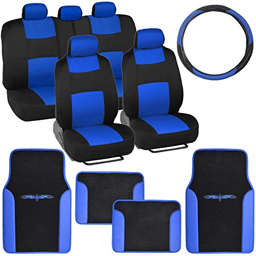 Blue Seat - BDK Blue Combo Fresh Design Matching All Protective Seat Covers (2 Front 1 Bench) Ergonomic Steering Cover (1 Piece) Heavy Protection Sleek Graphic Auto Carpet Floor Mats (4 Set)