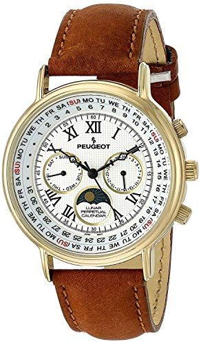 Peugeot Vintage Multi-Function Watch ,Perpetual Calendar with Moon Phase, Brown Leather Band