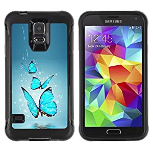 BullDog Case@ Blue Butterfly Water Splash Rugged Hybrid Armor Slim Protection Case Cover Shell For S5 Case , G9006 Cover Case ,Leather for S5 ,S5 Cover Leather Case ,G9006 Leather Case