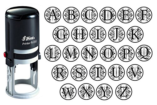 Custom A-Z Alphabet Stamp In Black Ink Monogram Round Rubber Stamp Self Inking Initial Stamp SHINY Mini Stamper 20 mm ()