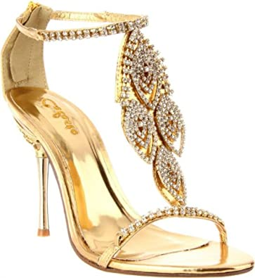7ff1cfd3b Shoehorne Crystal-05 - Womens Dazzling Gold Rhinestone/Diamante T-Strap High  Heels Evening Sandals w/ jewelled heel - Ladies Shoe Size 8: Amazon.co.uk:  ...