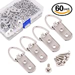 Swpeet 60 Pcs Heavy Duty Large Wide D Ring Shape Nail Non-trace Frame Picture Hangers Double Hole with Screws, For Home Decoration, Picture Frame Hanging with Transparent Box