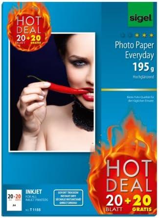SIGEL T1155 InkJet Everyday Fotopapier, 20 + 20 Blatt gratis, A4, hochglänzend, 195 g