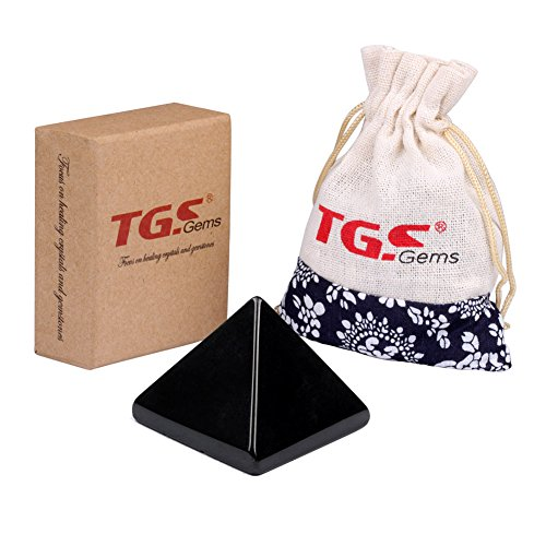"TGS Gems Pyramid-Finest Big Black Obsidian Gemstone 1.0"" Carved Pyramidal Crystal Healing Crafts"
