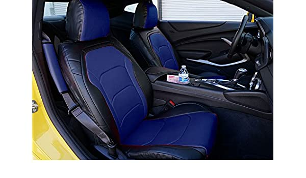 BLACK//GREY LEATHER-LIKE CUSTOM MADE FIT FRONT SEAT COVER CHEVY CAMARO 2016