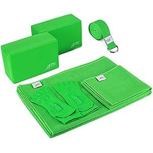Go Go Active Yoga Accessories Set – Includes 2 Yoga Blocks, 1 Microfiber Non Slip Mat Towel 72X24, 1 Microfiber Hand Towel 24X15, 1 Yoga Strap, 1 Pair of Yoga Socks