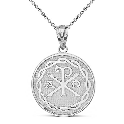 Sterling Silver Chi Rho Alpha Omega Symbol Medallion Round Pendant Necklace, 16