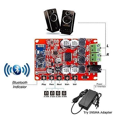 INSMA Amplifier Board TDA7492P Dual Channel Wireless Bluetooth 4.0 Audio Receiver Digital Amplifier Board