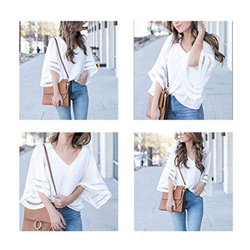 Women V Neck 3/4 Bell Sleeve Casual Lace Patchwork Blouses Loose Shirt Tops Black M by Poperdision (Image #3)