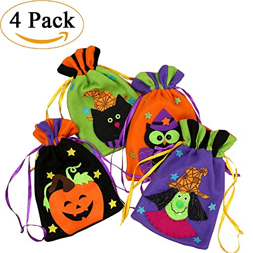 Halloween Party Favor Bags 4 Pack Halloween Goody Bags,Cartoon Gift Candy Drawstring Bags Pouch,Treat Goody Bags for Kids Boy and Girl (Halloween Class Party Ideas)