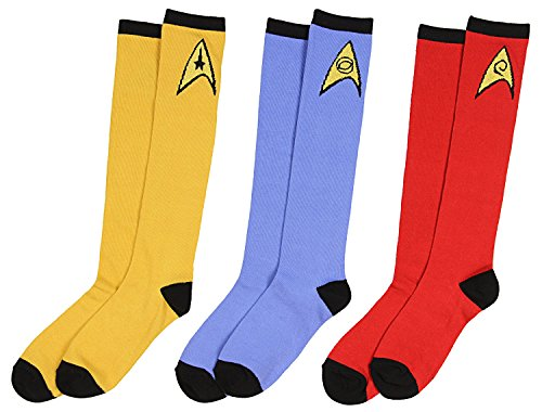 Star Trek Socks Uniform Knee High Costume Dress Adult Men Women (3 Pack) ()