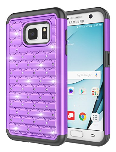 Galaxy S7 Case, Jeylly [Diamond Star] Hybrid Rubber Plastic Shock Absorbing Studded Rhinestone Crystal Bling Armor Defender Rugged Case Cover for Samsung Galaxy S7 S VII G930 GS7 - Purple