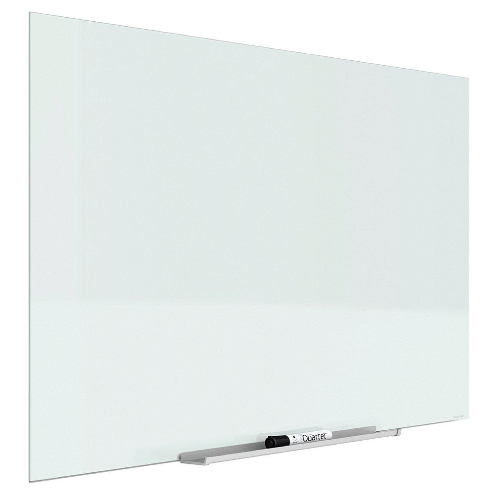 Quartet Glass Dry Erase Board, Whiteboard / White Board, Magnetic, 74'' x 42'', White Surface, Frameless, InvisaMount (G7442IMW)