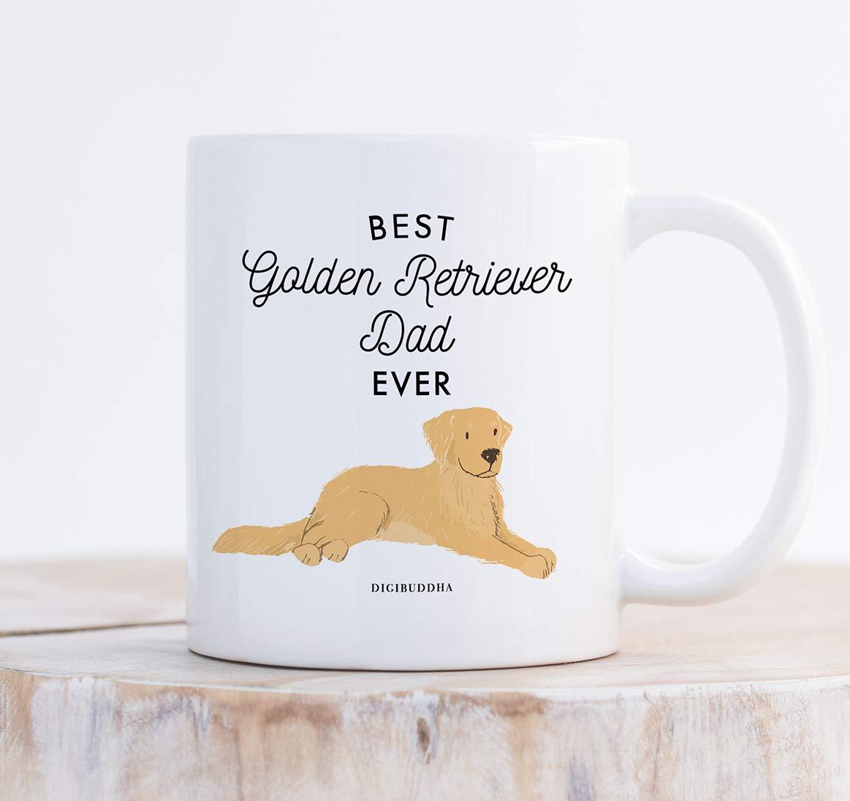Best Golden Retriever Dad Ever Coffee Mug Gift Idea Daddy Father Papa Favorite Gold Retriever Family House Pet Rescue Dog Adoption 11oz Ceramic Tea Cup Christmas Birthday Present by Digibuddha DM0503