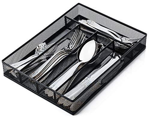 JANE EYRE Utensil Drawer Organizer, Cutlery Tray, Silverware Holder Flatware Storage Divider for Kitchen, Mesh Designing with Non-slip Foam Feet, 5 Compartments, Black