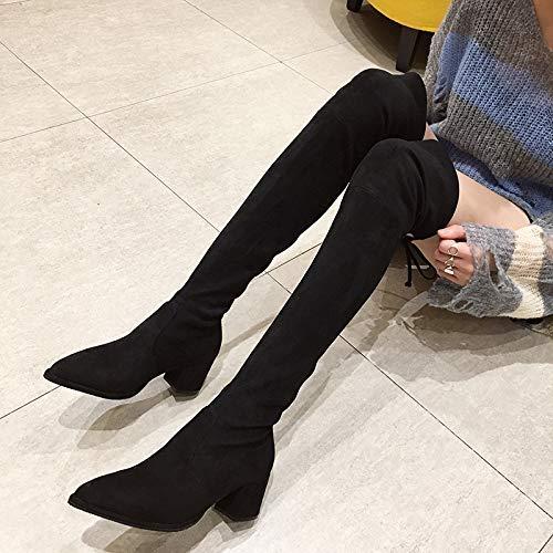 Eeayyygch High Heels Dicker Absatz Schuhe Damenschuhe Ofenrohr Stretch Stretch Stretch Stiefel Lange Stiefel Wildleder dick mit spitz (Farbe   35, Größe   Schwarz) 71b8e7