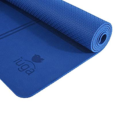 "IUGA Eco Friendly Yoga Mat Alignment Lines, Free Carry Strap, Non Slip TPE Yoga Mat All Types Yoga, Extra Large Exercise Fitness Mat Size 72""X26""X1/4"""