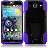For LG Optimus G Pro E980 T-Stand Impact Kickstand Hybrid Double Layer Fusion Cover Case Black/Dark Purple