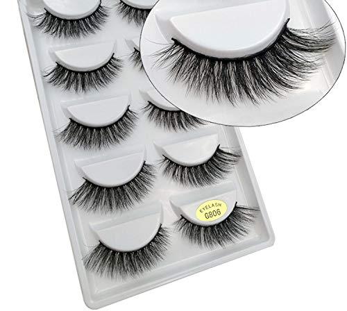 5 Pairs 3D Soft Mink False Eyelashes Handmade Wispy Fluffy Natural Eye Lashes Cilios Mink Makeup,G806 (Bed And Kelowna Beyond Bath)