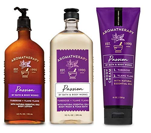 Amazon.com : Bath and Body Works Aromatherapy PASSION - TUBEROSE YLANG  YLANG - Trio Gift Set - Body Lotion 6.5 oz, Shower Gel Foam Bath 10 oz and  Body Cream 8 oz : Beauty