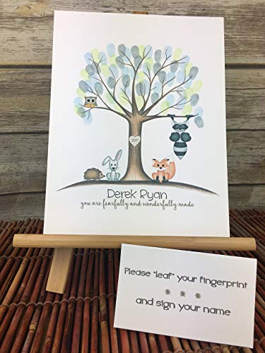 Customizable woodland fingerprint tree guest sign in page featuring a tan owl, fox, bunny, hedgehog, and raccoon -