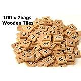 Fuhaieec(TM) 200 Wood Scrabble Tiles - NEW Scrabble Letters - Wood Pieces - 2Complete Sets - Great for Crafts, Pendants, Spelling