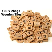 Fuhaieec(TM) 200 Wood Scrabble Tiles - NEW Scrabble Letters - Wood Pieces - 2Complete Sets - Great for Crafts, Pendants, Spelling