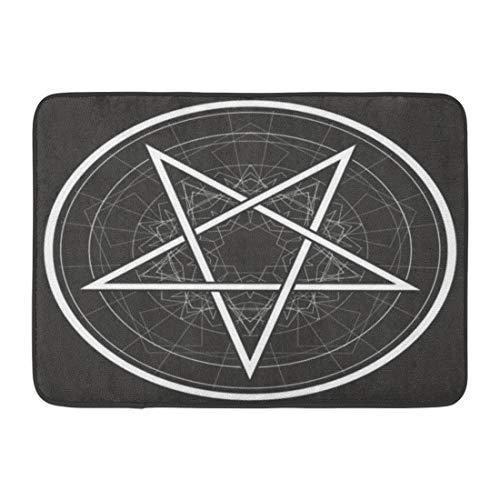 (Emvency Doormats Bath Rugs Outdoor/Indoor Door Mat Satan Baphomet Star Reversed Pentagram Satanic Sign Gothic Symbol Circle Bathroom Decor Rug Bath Mat 16