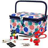 SINGER 07230 Sewing Basket with Sewing Kit, Needles, Thread, Pins, Scissors, and Notions, Florence