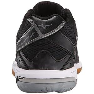 Mizuno Women's Wave Hurricane 2 Volleyball Shoe, Black/Silver, 8.5 D US