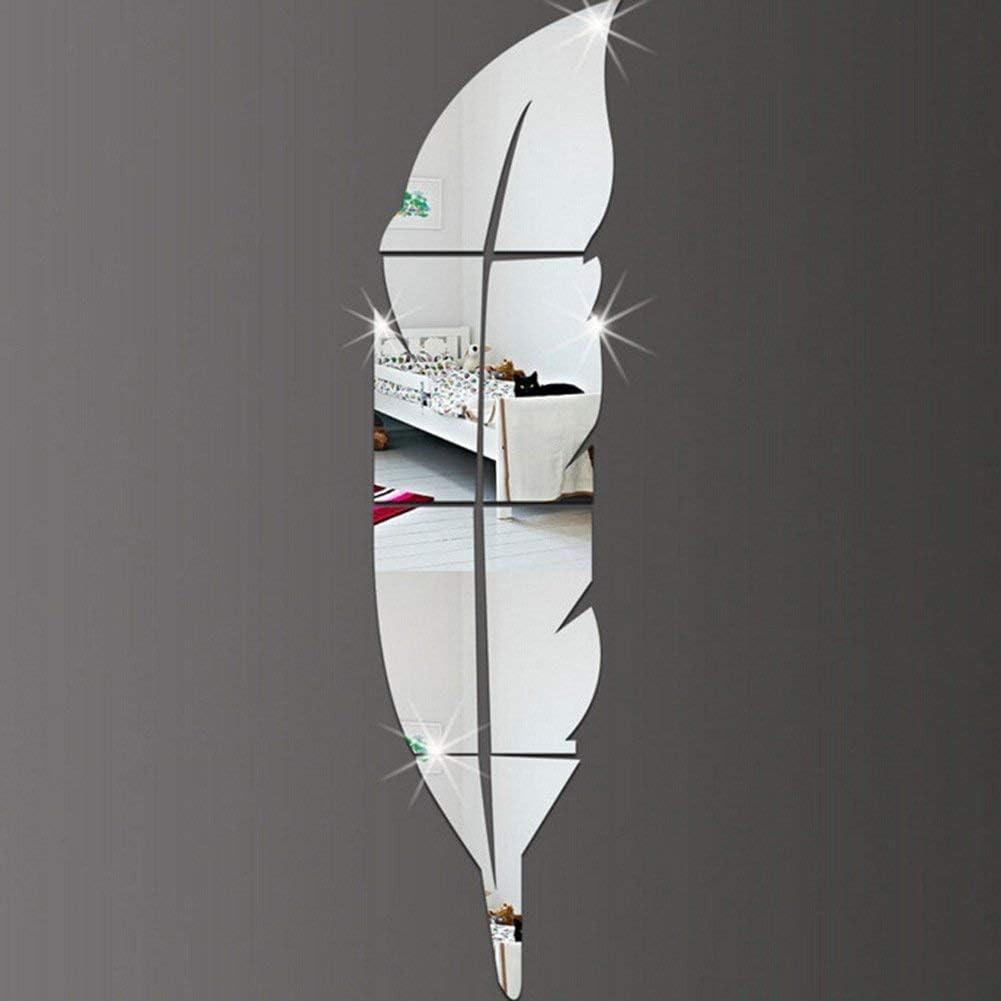 oro//argento. Adesivi da parete in acrilico 3D a forma di piuma con superficie a specchio argento Advancethy 6 pezzi Acrilico