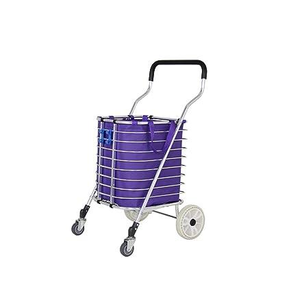 Carro de la compra de carro pequeño plegable portátil, carro de carretilla de aleación de