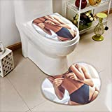 Printsonne Non Slip Bathroom Heart shaped foot pad cropped image of beautiful passionate couple having sex on bed man Non Slip Comfortable Snd Soft