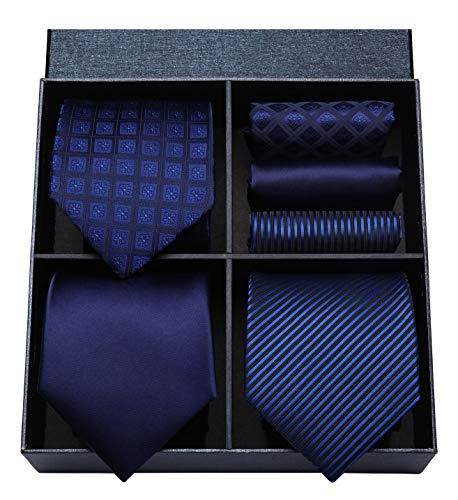HISDERN Lot 3 PCS Classic Men's Tie Set Necktie & Pocket Square Elegant Neck Ties Collection