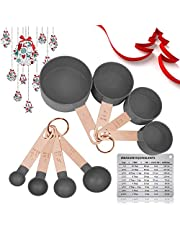 KAISHANE Measuring Cups and Spoon Set,8Pieces Stainless Steel Rose Gold Handle with Measuring Ruler & Magnetic Measurement Conversion Chart