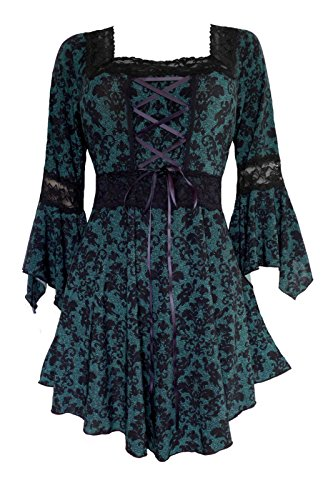 (Dare to Wear Victorian Gothic Peasant Women's Plus Size Renaissance Corset Top, Cypress M )
