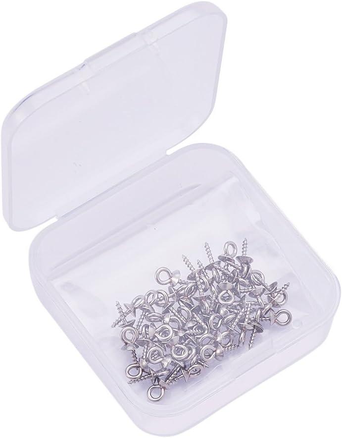 PandaHall Elite 10PCS Tazza Perla Coppette Copriperla in Acciaio Inox 304 Ciondoli Perla Perline Accessori di Gioielli 6x5mm Pin 1.5mm