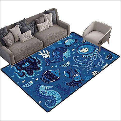 Non-Slip Bath Hotel Mats Ocean Decor,Deep Sealife with Cute Cartoon Like Animals Little Whale Fish Octopus and Moss Print,Blue 80