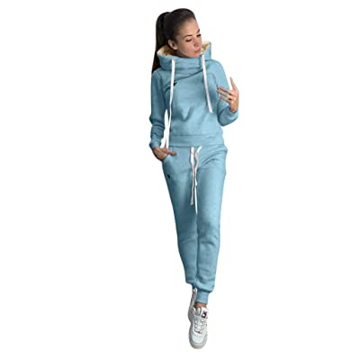 Womens 2 Piece Outfits Tracksuits Baggy Off Shoulder Sexy Long Sleeve Crop Tops Sweater at Women's Clothing store