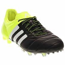 Adidas Ace 15.1 FG/AG Leather Soccer Cleats (8A, CBlack/FtwWht/SYello)