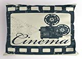 Ambesonne Movie Theater Pillow Sham, Grunge Poster Design with Strip Frame Cinema Lettering and Projection, Decorative Standard Queen Size Printed Pillowcase, 30 X 20 Inches, Slate Blue Beige