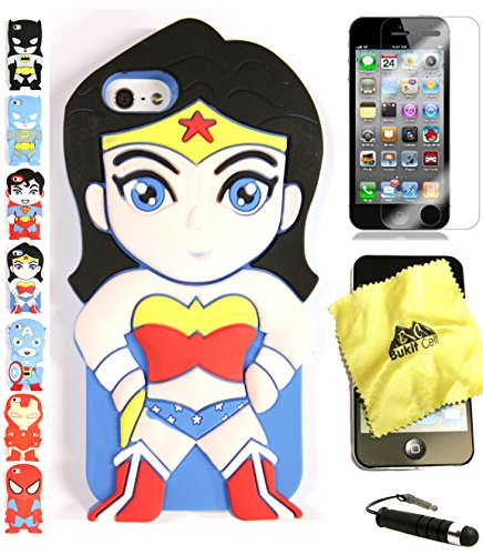 Bukit Cell 3D Superhero Case Bundle - 4 items: WONDER WOMAN Cute Silicone Case Cover for iPhone SE 5S 5 5G + BUKIT CELL Cloth + Screen Protector + METALLIC Stylus Touch Pen with Anti Dust Plug