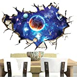 WINBOB Removable PVC 3D Outer Space Planet Moon Earth Stars Wall Decals Home Art Decor Wall Decal for Kids Babys Children Bedroom Rooms Ceiling Living Room Nursery School