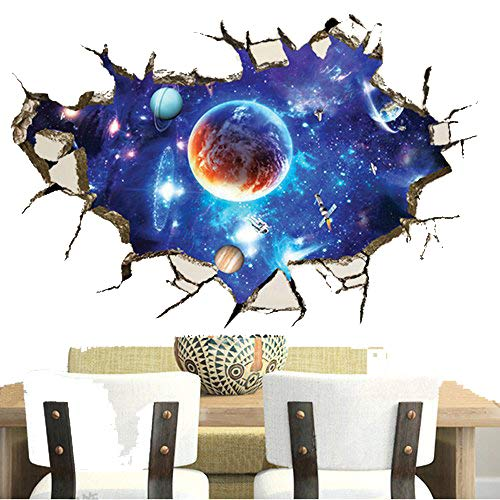 3D Outer Space Planet Moon Earth Stars Wall Decals Home Art Decor Wall Decal for Kids Babys Children Bedroom Rooms Ceiling Living Room Nursery School ()