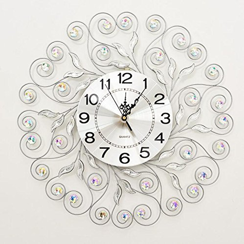Price comparison product image GuoEY Mute Living Room Wrought Iron Wall Clock Large Decorative Quartz Clock,  E for Living Room Bedrooms Office