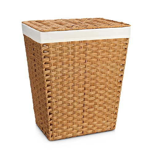 Seville Classics Hand-Woven Lidded Laundry Hamper/w Canvas Liner, Natural (Hamper Baskets With Lids)