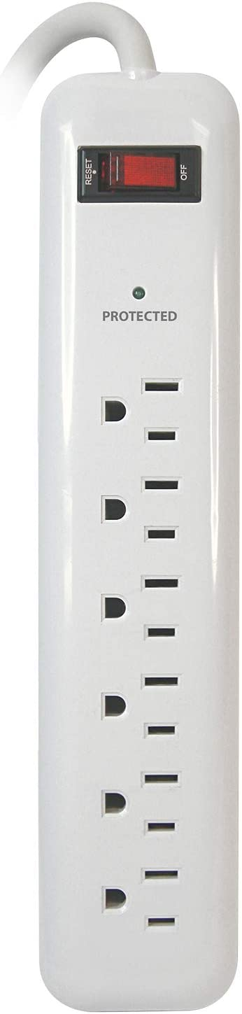 Prime Wire PB802124 6-Outlet Household Electronics Surge Protector with 14/3 SJT 3-Feet Cord.