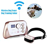 Wireless Dog Fence Training Collar 2-in-1 System, Stablest Signal Wireless Pet Fence, Tone/Vibration/Shock Remote Collar, Rechargeable Waterproof Collar Receiver (Wireless Fence Traning Collar)