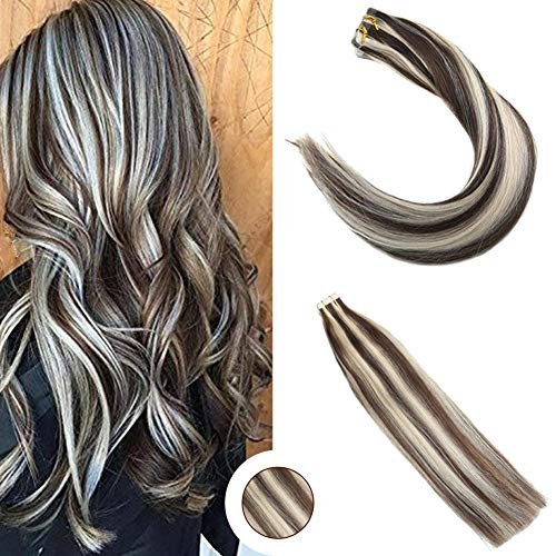 Ugeat 18inch Seamless Skin Weft PU Tape in Hair Extensions Dark Brown Highlight with Platinum Blonde Glue in Tape on Hair PU Tape in Extensions 50 Gram